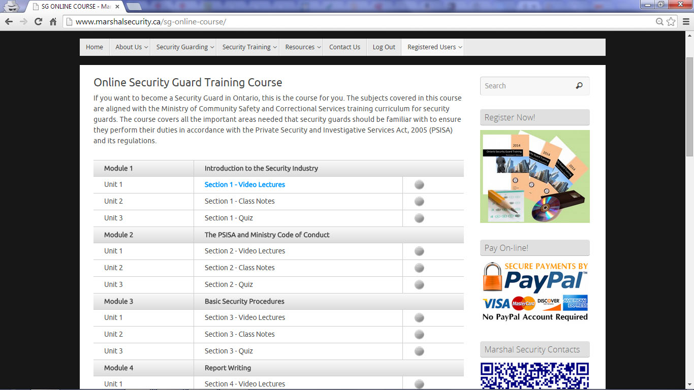 Security Guard Online Training Marshal Security
